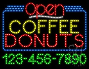 Coffee Donuts Open with Phone Number LED Sign