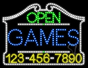 Games Open with Phone Number LED Sign
