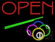 Open With Billiards Logo Led Sign