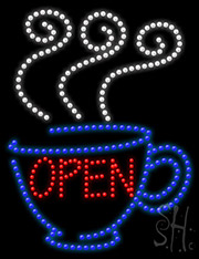 Open Coffee Led Sign