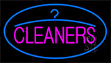 Pink Cleaners Blue Logo Neon Sign