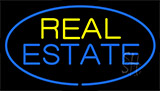 Real Estate Blue Border Neon Sign