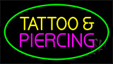 Tattoo And Piercing Green Border Animated Neon Sign