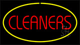 Red Cleaners Yellow Border Neon Sign