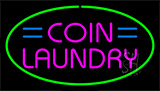 Pink Coin Laundry Green Border Neon Sign