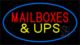 Mail Boxes And Ups Blue Neon Sign