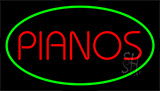 Pianos Green Neon Sign