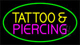 Tattoo And Piercing Green Border Neon Sign