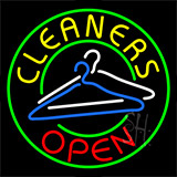 Cleaners Open With Logo Neon Sign