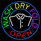 Wash Dry Fold Open Logo Neon Sign