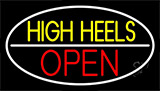 High Heels Open White Border Neon Sign