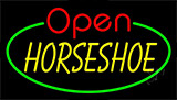 Horseshoe Open With Green Border Neon Sign