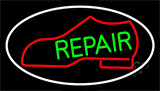 Red Boot Green Repair With Border Neon Sign