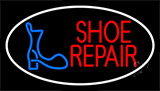 Shoe Repair Logo White Border Neon Sign