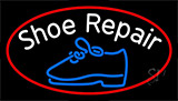 White Shoe Repair With Border Neon Sign