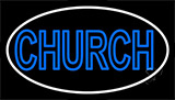 Blue Double Stroke Church Neon Sign