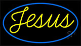 Cursive Blue Jesus Neon Sign