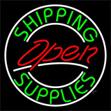 Red Shipping Supplies With Circle Open Neon Sign