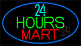24 Hours Mini Mart With Blue Neon Sign