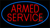 Armed Service With Blue Neon Sign