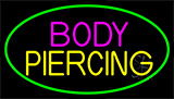 Blue Body Piercing With Green Neon Sign