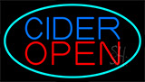 Blue Cider Open With Turquoise Neon Sign