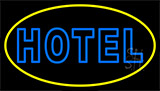 Blue Hotel With Yellow Border Neon Sign