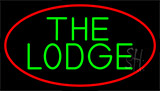 Cursive Green Lodge And Red Border Neon Sign