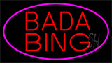 Red Bada Bing With Pink Border Club Neon Sign