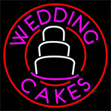 Circle Pink Wedding Cakes Neon Sign