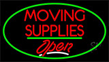 Moving Supplies Open Green Line Neon Sign