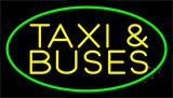 Yellow Taxi And Buses With Border Neon Sign