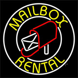 Yellow Mailbox Rental Block White Circle Neon Sign