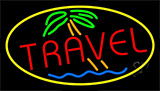 Red Travel With Yellow Border Neon Sign