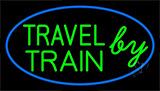Travel By Train With Blue Border Neon Sign