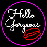 Pink Hello Gorgeous With Lip Neon Sign