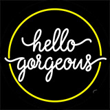 Yellow Border Hello Gorgeous Neon Sign