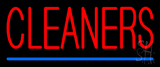 Red Cleaners Blue Line Neon Sign