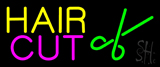 Yellow Hair Cut With Scissor Neon Sign