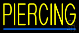 Yellow Piercing Blue Line Neon Sign