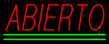 Red Abierto With Green Lines Neon Sign