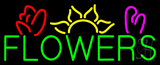 Green Block Flowers Logo Neon Sign