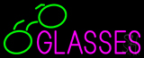 Pink Glasses Green Logo Neon Sign