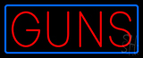 Red Guns Blue Rectangle Neon Sign