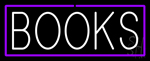 White Books Purple Border Neon Sign