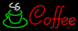 Red Cursive Coffee Logo Neon Sign