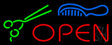 Open With Scissor And Comb Logo Neon Sign