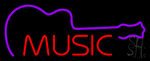 Music With Guitar Neon Sign