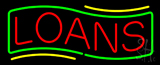 Red Loans Green Border Neon Sign