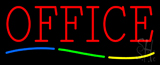 Red Office Multi Colored Line Neon Sign